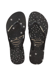 Havaianas Shoes 35/36 / Black/silver Metallic / 4141363 Slim Logo Metallic Sandal Black/silver metallic