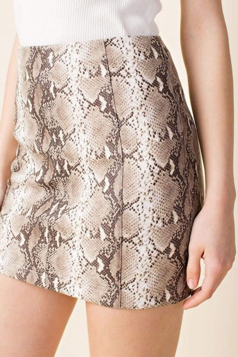 Honey Punch Skirt Isabella Snake Skin Skirt Taupe