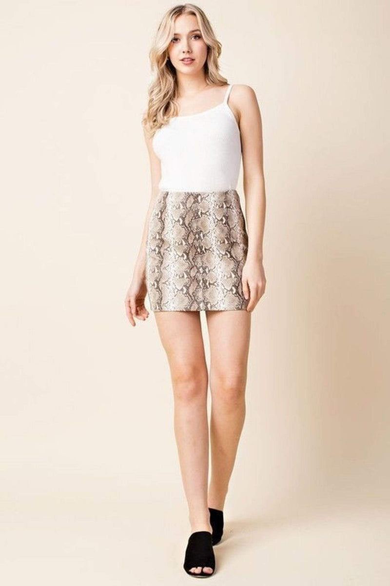 Honey Punch Skirt X Small / Taupe / 7IS4663D-1 Isabella Snake Skin Skirt Taupe
