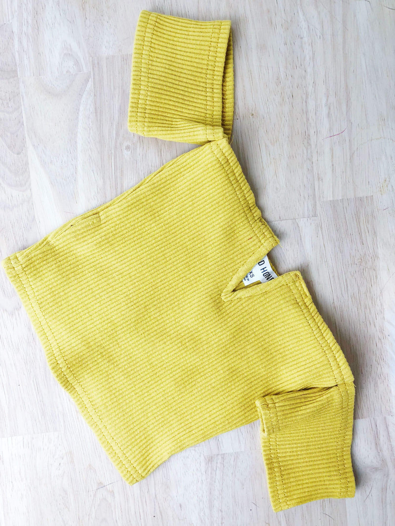 Frenchie Off the Shoulder Crop Top Yellow