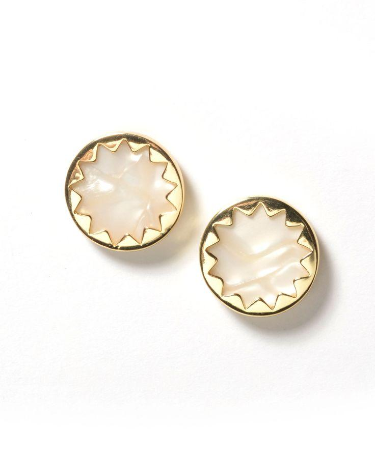 House of Harlow Earring One Size / Pearl / C000774PRLPearlOne Size Sunburst Button Earrings Pearl
