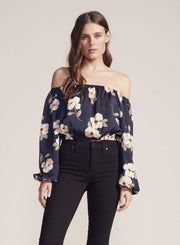 Jack / BB Dakota Tops Blouse Large / Oilslick / BJ304371 Blue Gardenia Off the Shoulder Top Oilslick