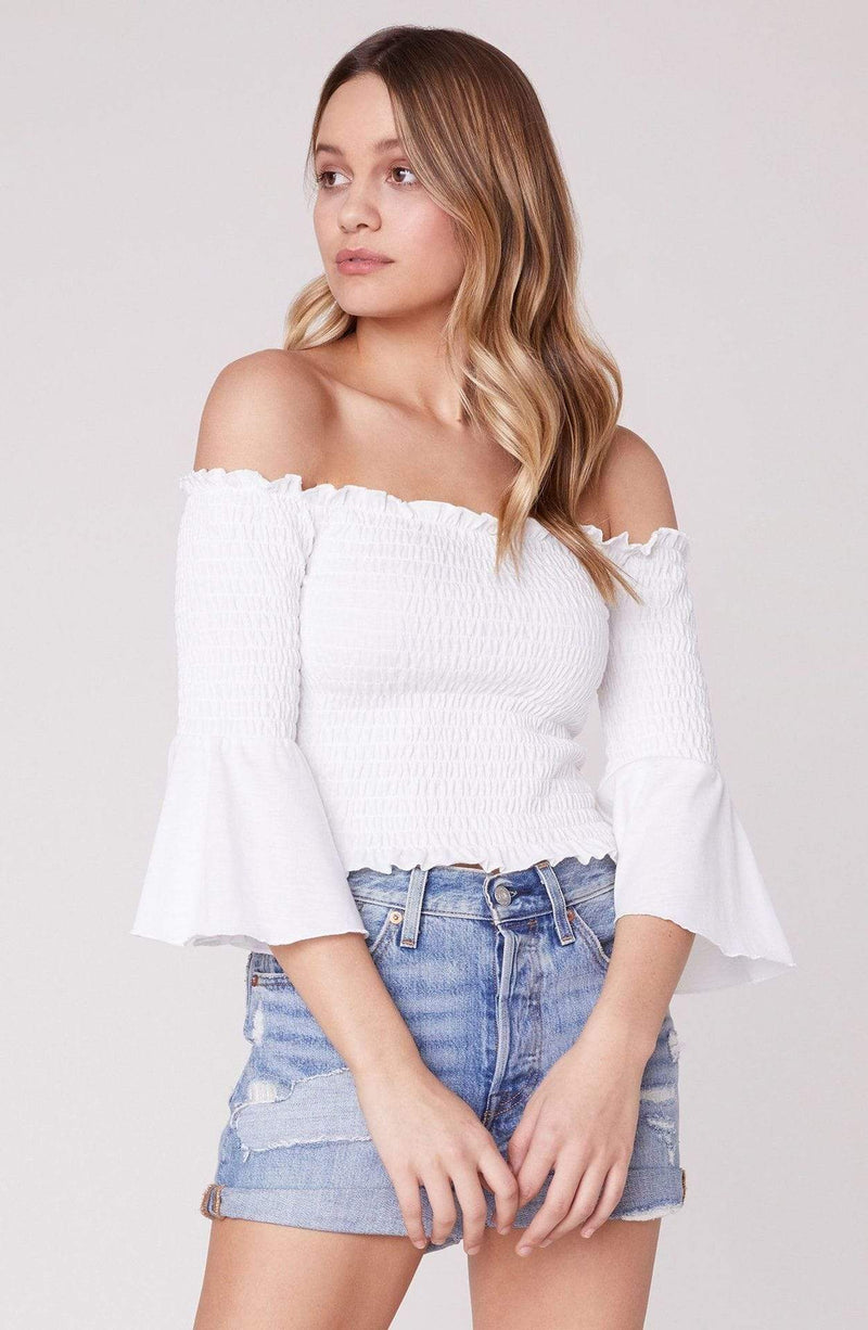 Show Off Bell Sleeve Off the Shoulder Top White