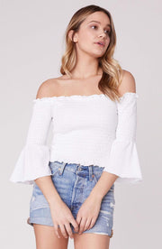 Jack / BB Dakota Tops Blouse X Small / White / JJ205855 Show Off Bell Sleeve Off the Shoulder Top White