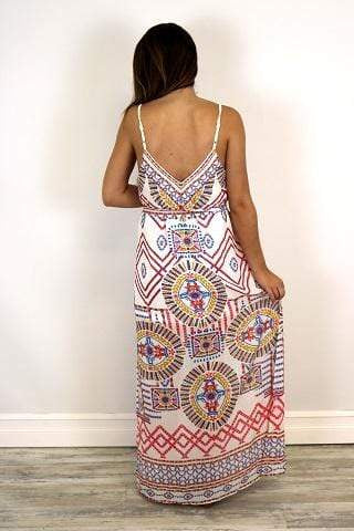 Jealous Tomato Dress Mosaic Maxi Ivory Multi
