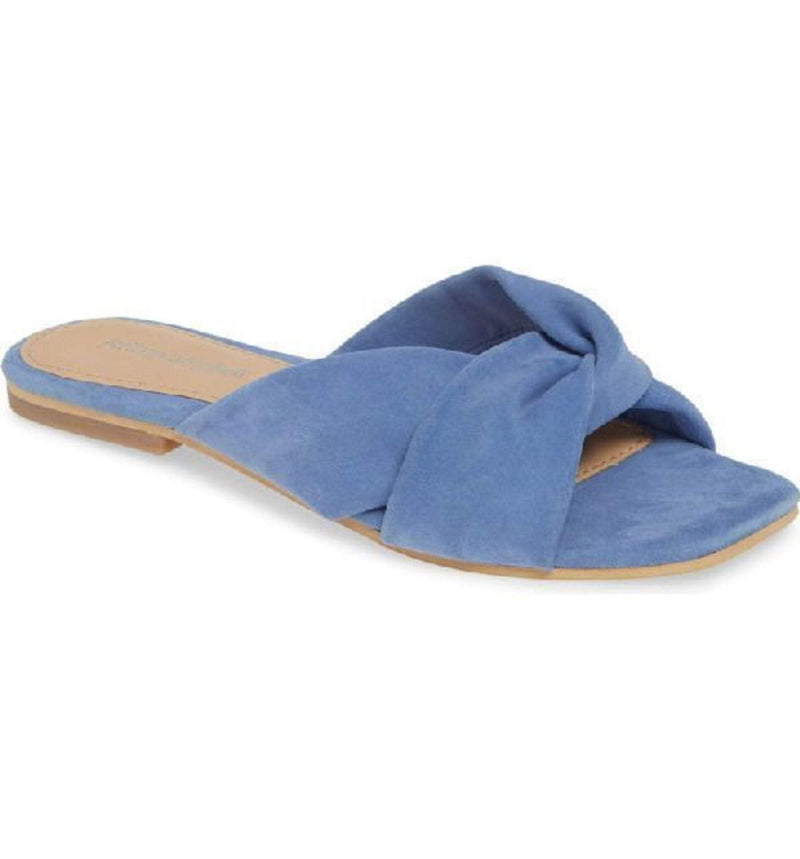 Jeffrey Campbell Shoes Lynx Suede Slide Dusty Blue