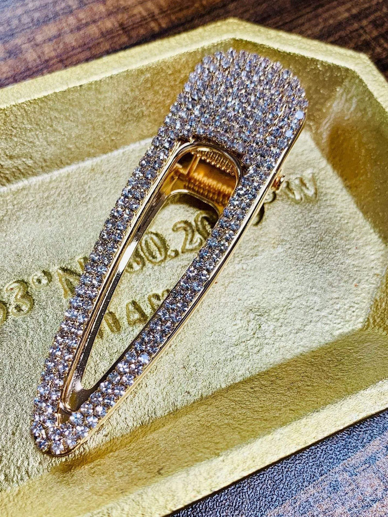 Diamond Barrette Lg Gold