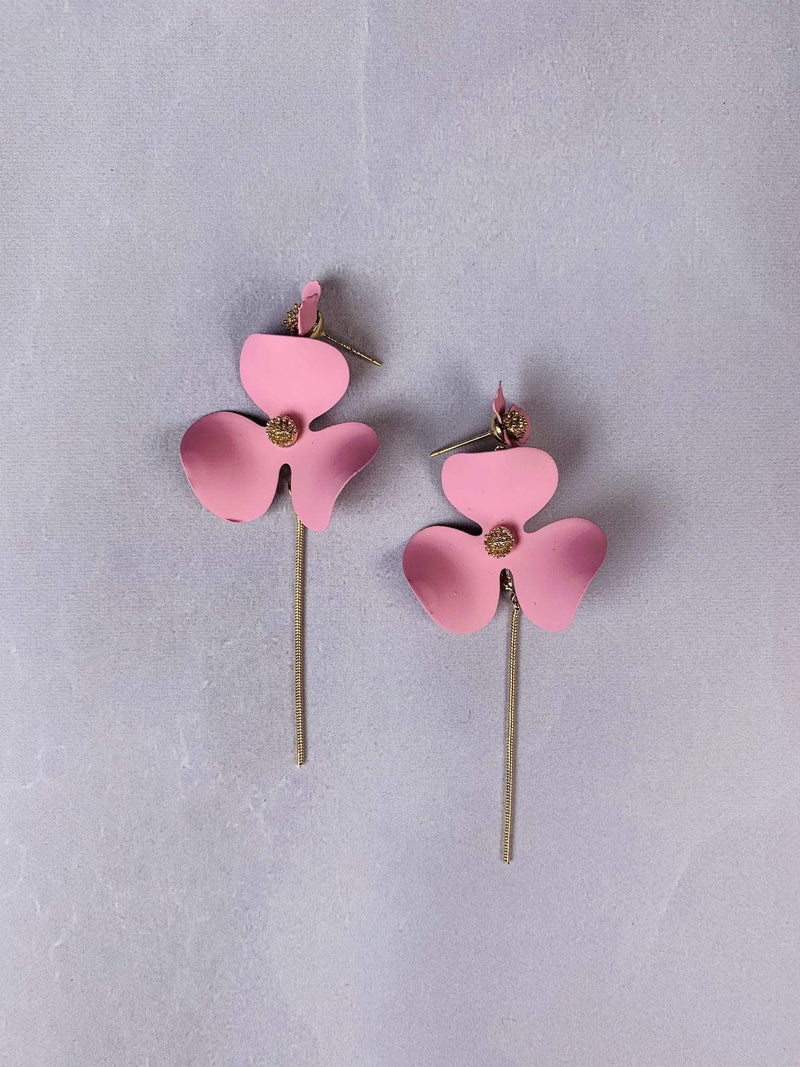 Jewel Vault Earring One Size / Light Pink / E2305 Poppy Flower Chain Drop Earrings Light Pink