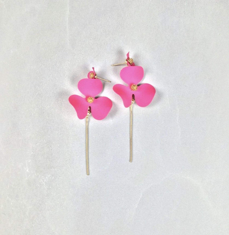Poppy Flower Chain Drop Earrings Pink