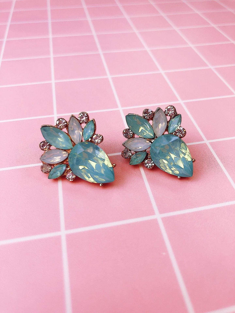 Jewel Vault Earring One Size / White Opal / E19119GDTQ Leigha Statement Studs