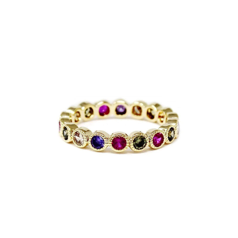 Jewel Vault Ring Size 6 / Gold / R15059 Aria Rainbow Bezel Ring Gold