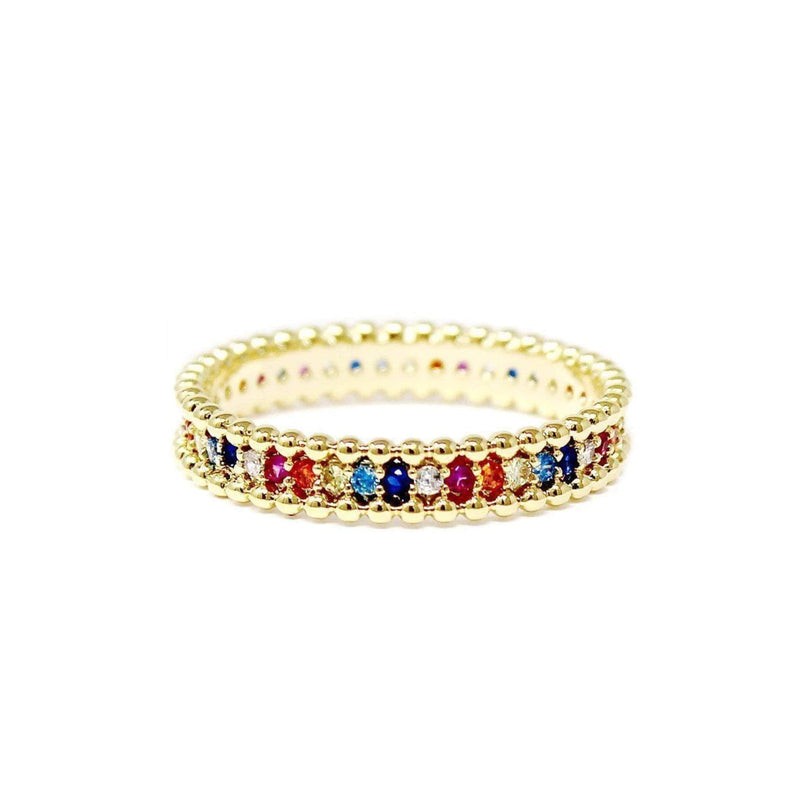 Jewel Vault Ring Size 6 / Gold / R15062 Georgi Rainbow Pave Ring Gold