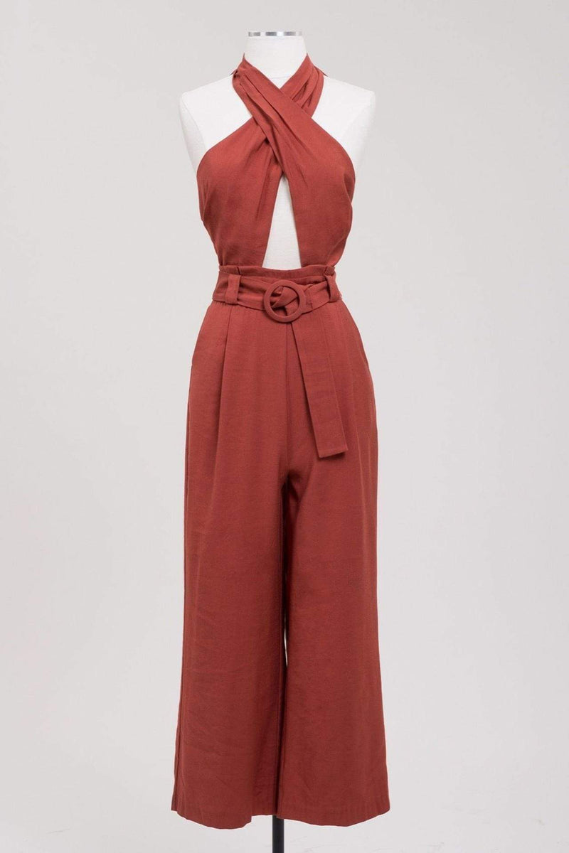 Joa Dress X Small / Brick / BC9018 Priyanka Halter Jumpsuit Brick
