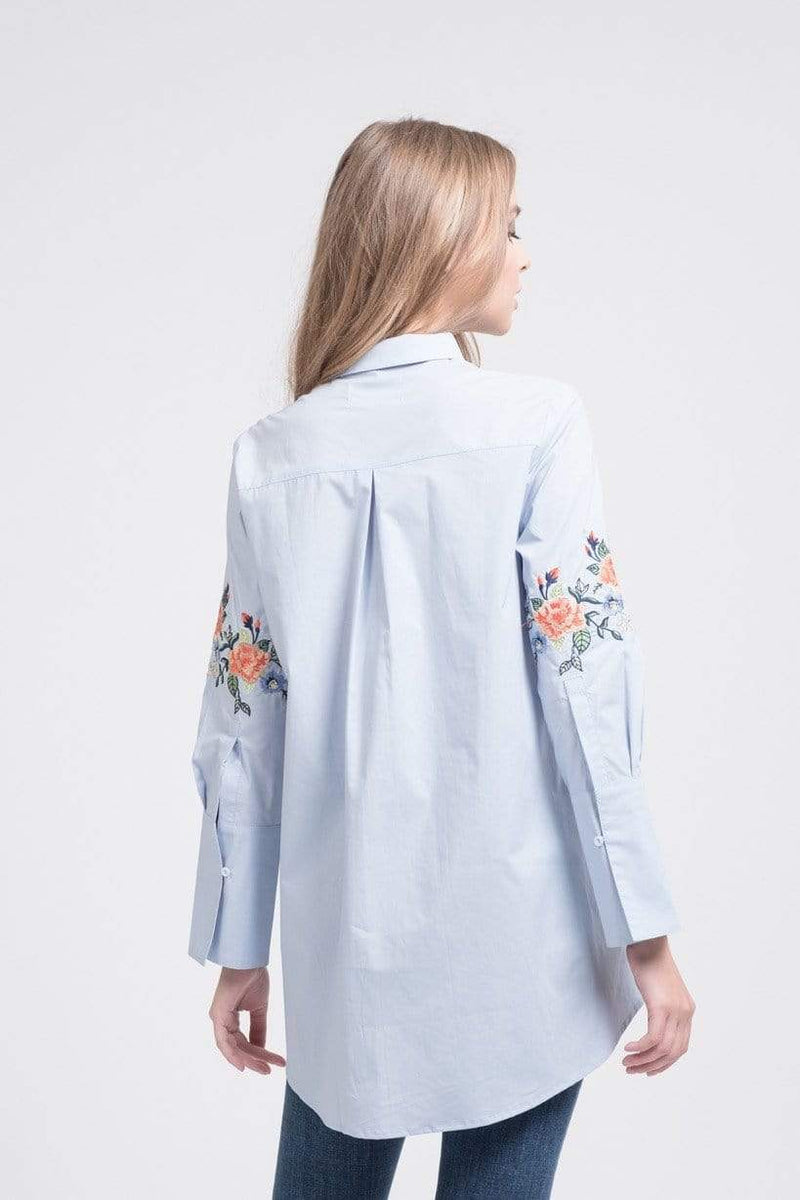 Joa Tops Blouse Gracie Hi-Lo Shirt Sky Embroidered