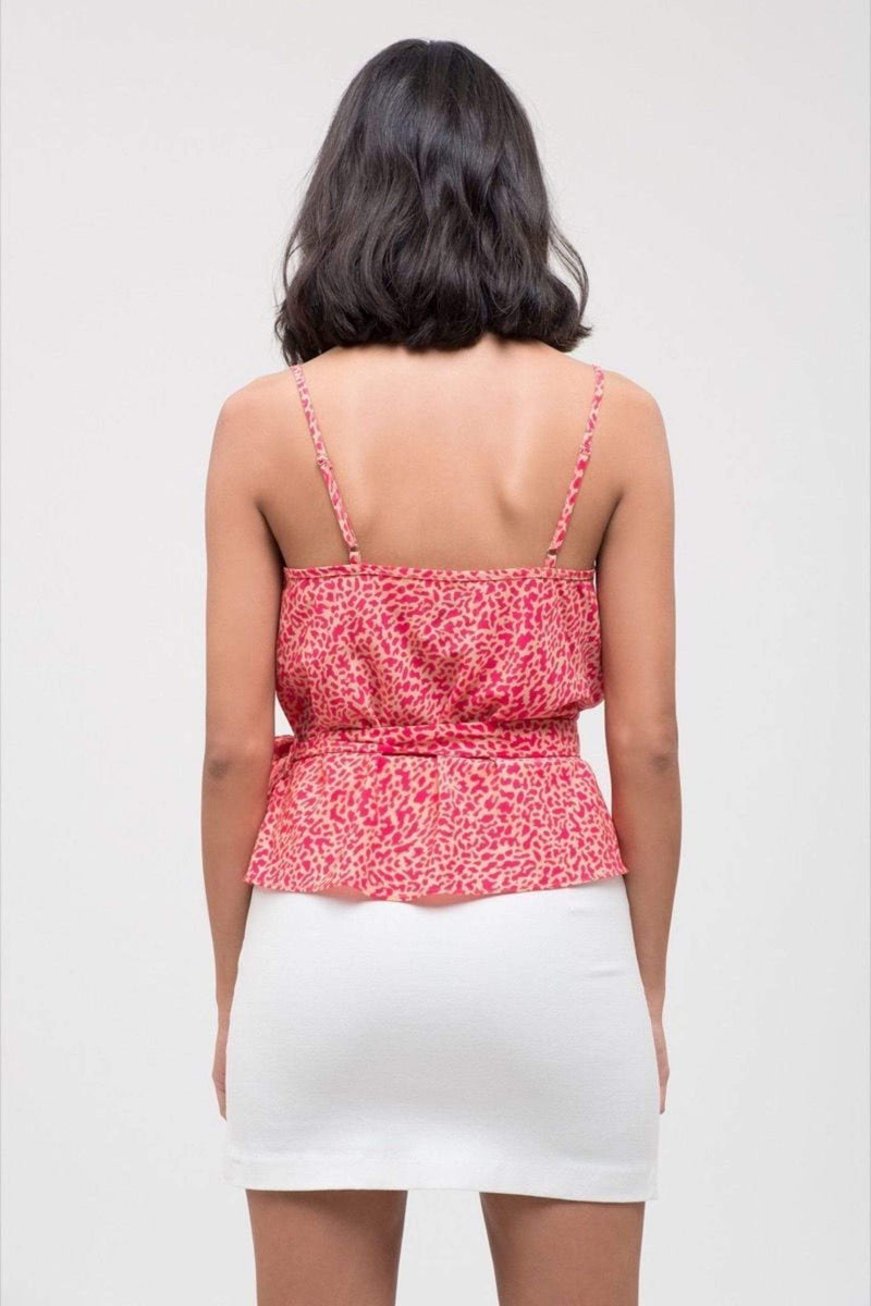 Woven Sleeveless Top with Self Tie Pink Leopard