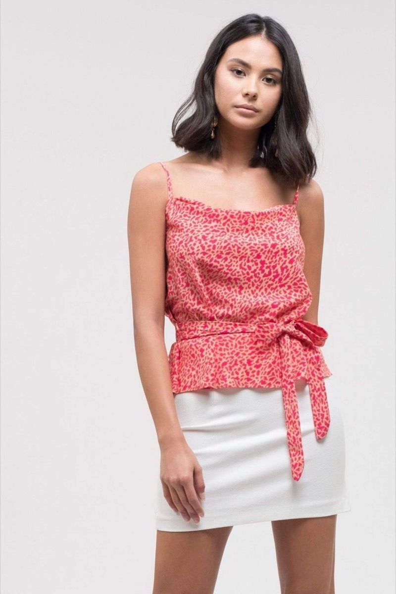 Joa Tops Blouse Woven Sleeveless Top with Self Tie - Pink Leopard