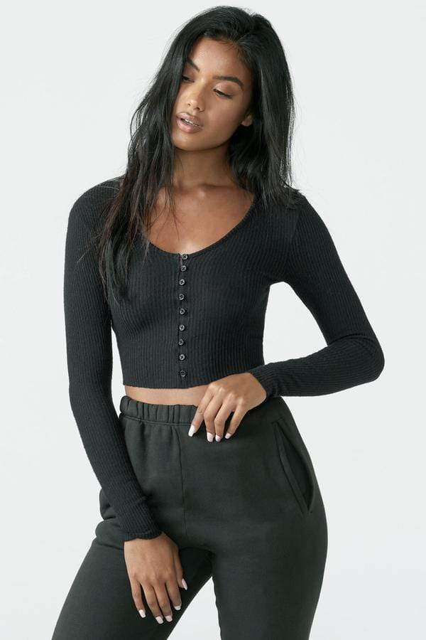 Joah Brown Tee Casuals Fitted Button Down Cropped Cardigan Black Rib