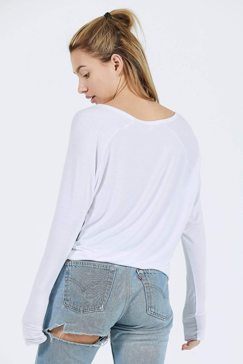 Joah Brown Tops Blouse Laid Back Top White