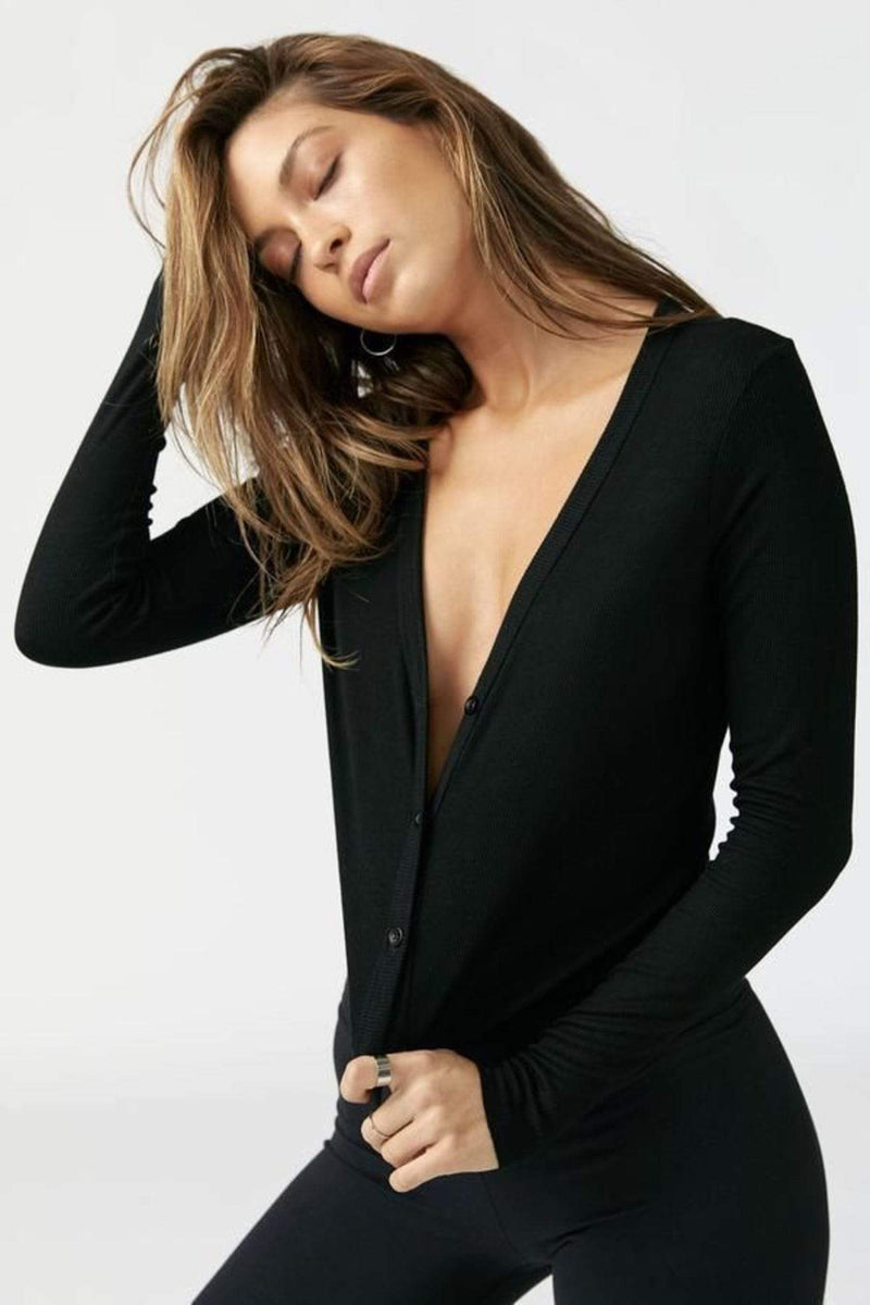 Cropped Button Down Black Rib