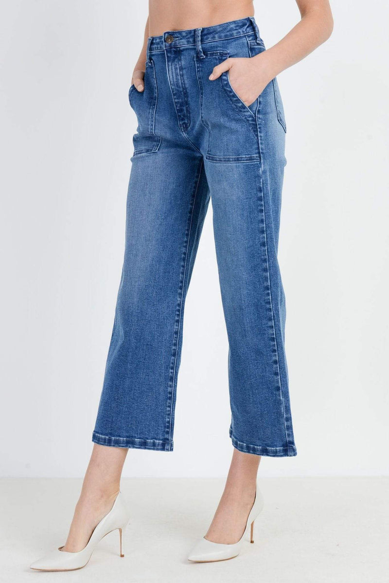 Gemma Wide Leg Patched Jean Medium