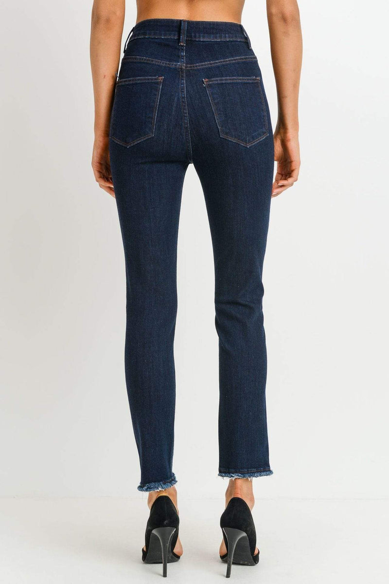 Just Black Denim Serena High Rise Ankle Skinny Fray Hem Indigo
