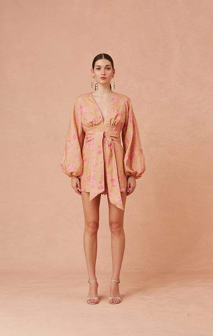 Keepsake Dress Fallen Long Sleeve Playsuit Nude/Candy