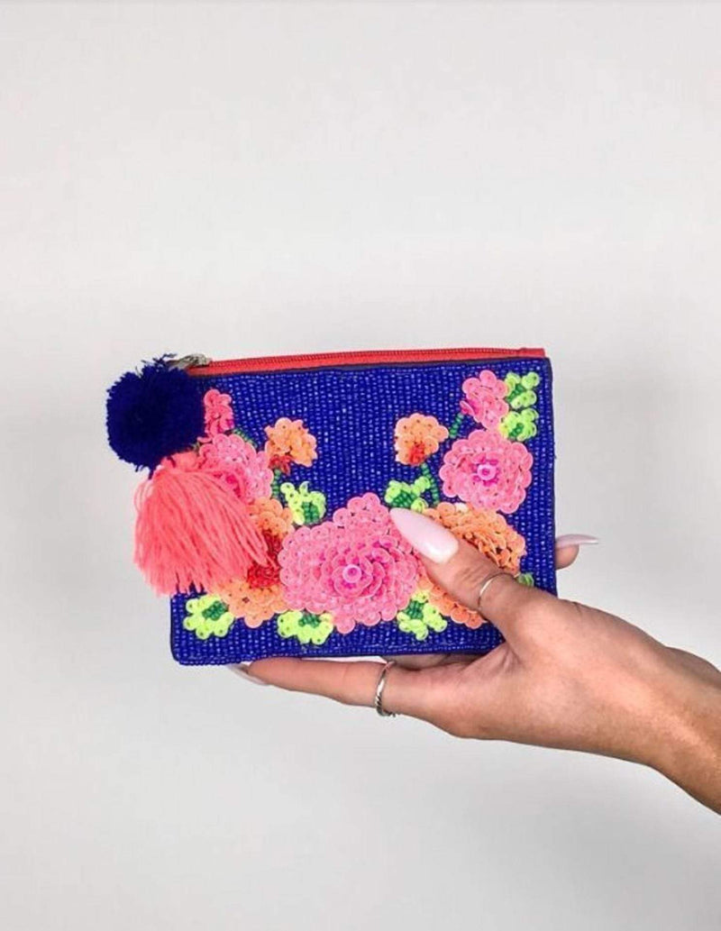 La Chic Designs Bag One Size / Blue / LAC-RF-017 Embellished Flower Pouch Blue