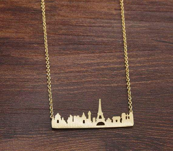 Lauren Spencer Jewelry One Size / Gold / BN569 Gold Plated Paris Skyline Necklace