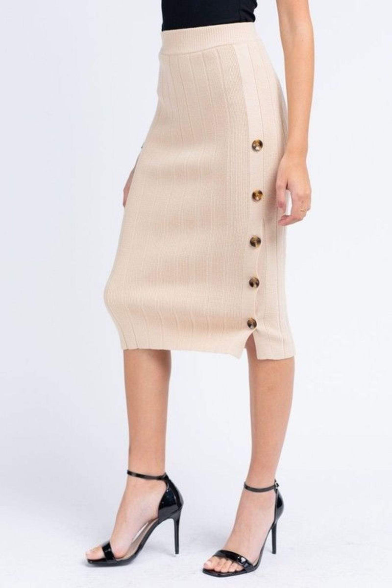 Le Lis Skirt Caine Cable Knit Midi Skirt Light Taupe