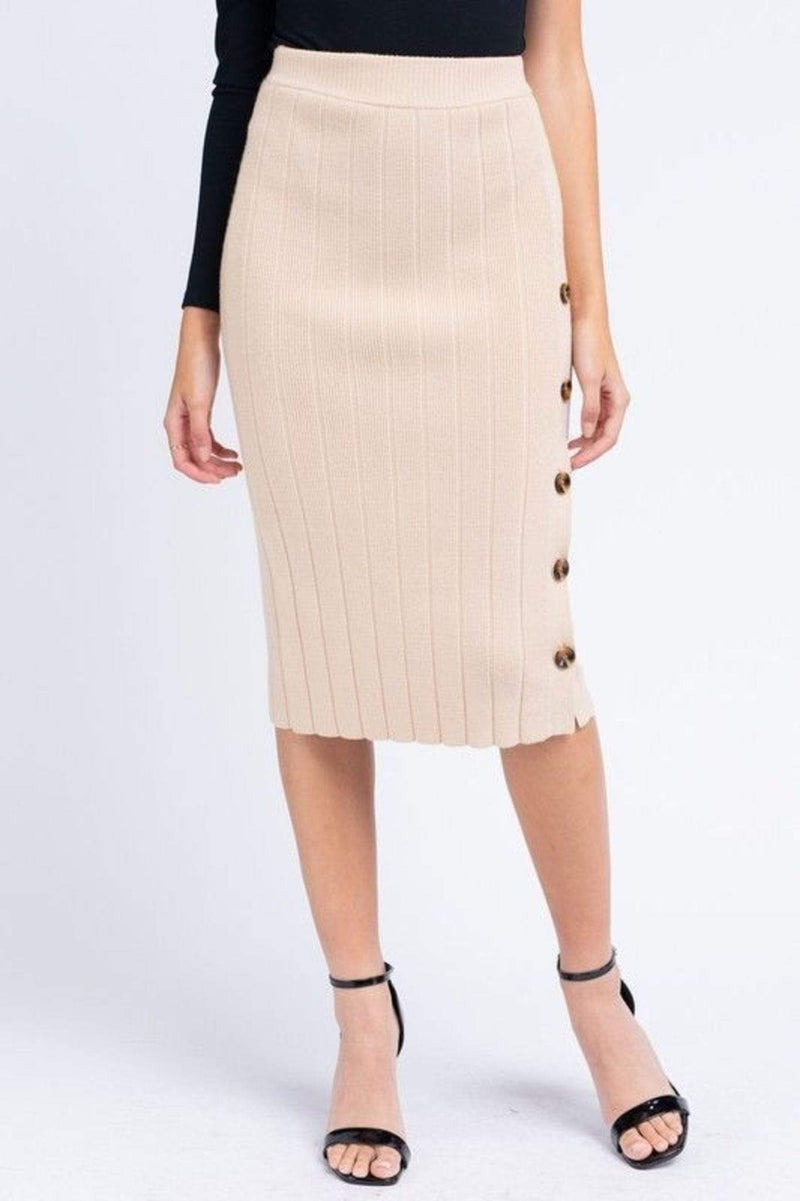 Le Lis Skirt Large / Light Taupe / MWS9611 Caine Cable Knit Midi Skirt Light Taupe