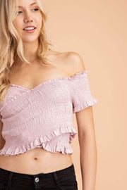 Le Lis Tops Blouse Ivy Scrunch Crop Top Lavender