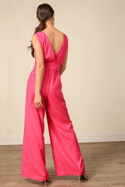 Line and Dot Dress Kinn Jumpsuit Fuchsia