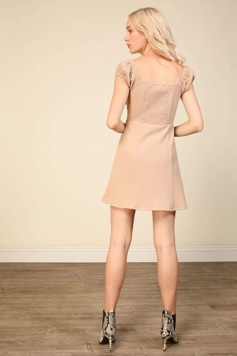 Line and Dot Dress Large / Taupe / LD4195B Rosaline Mini Dress Taupe
