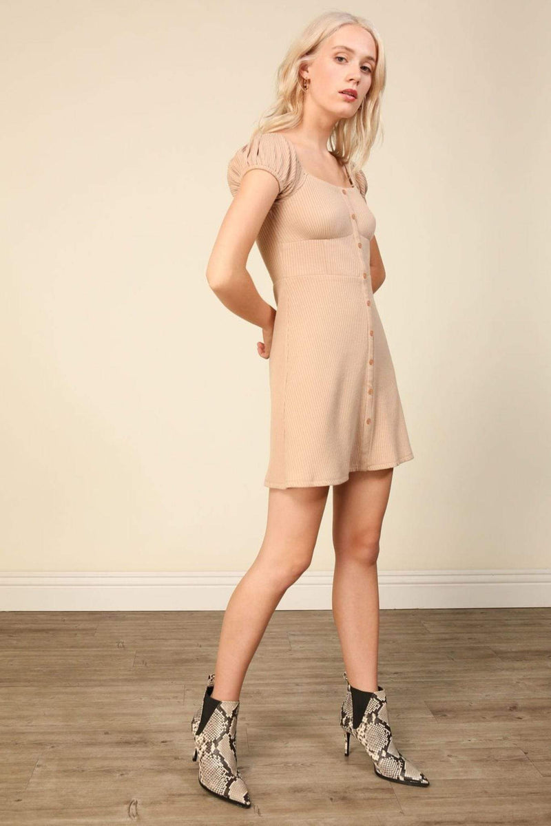Line and Dot Dress Rosaline Mini Dress Taupe