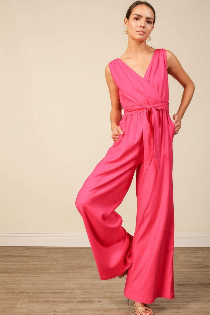 Line and Dot Dress Small / Fuchsia / LR6233B Kinn Jumpsuit Fuchsia