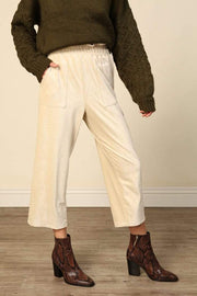 Line and Dot Pants Lia Baby Rib Cropped Pant Cream