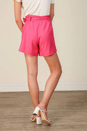 Line and Dot Shorts Kinn Wrap Front Shorts - Fuchsia