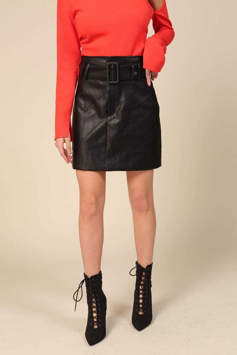 Line and Dot Skirt River Vegan Leather Skirt Black