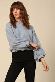 Line and Dot Sweater Calli Textured Pullover Sweater Dusty Blue