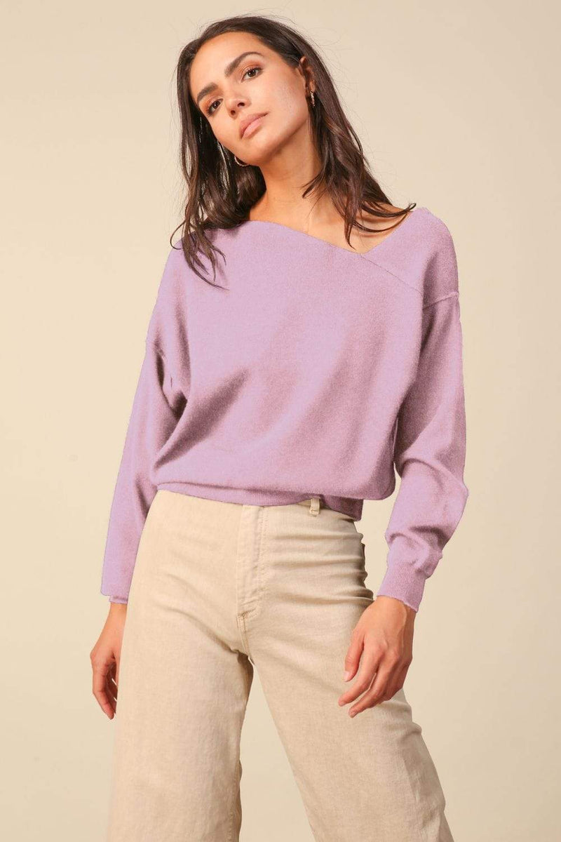 Line and Dot Sweater Favorite Off the Shoulder Sweater Lilac