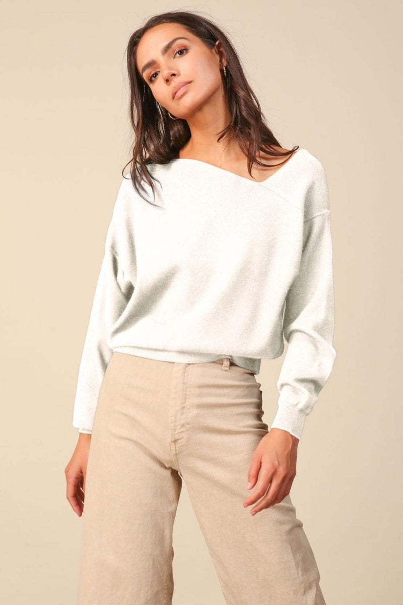 Line and Dot Sweater Favorite Off the Shoulder Sweater White