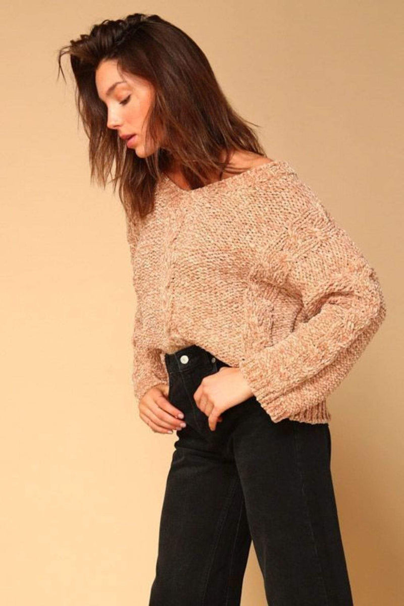 Line and Dot Sweater Lane Cable Knit Sweater Taupe