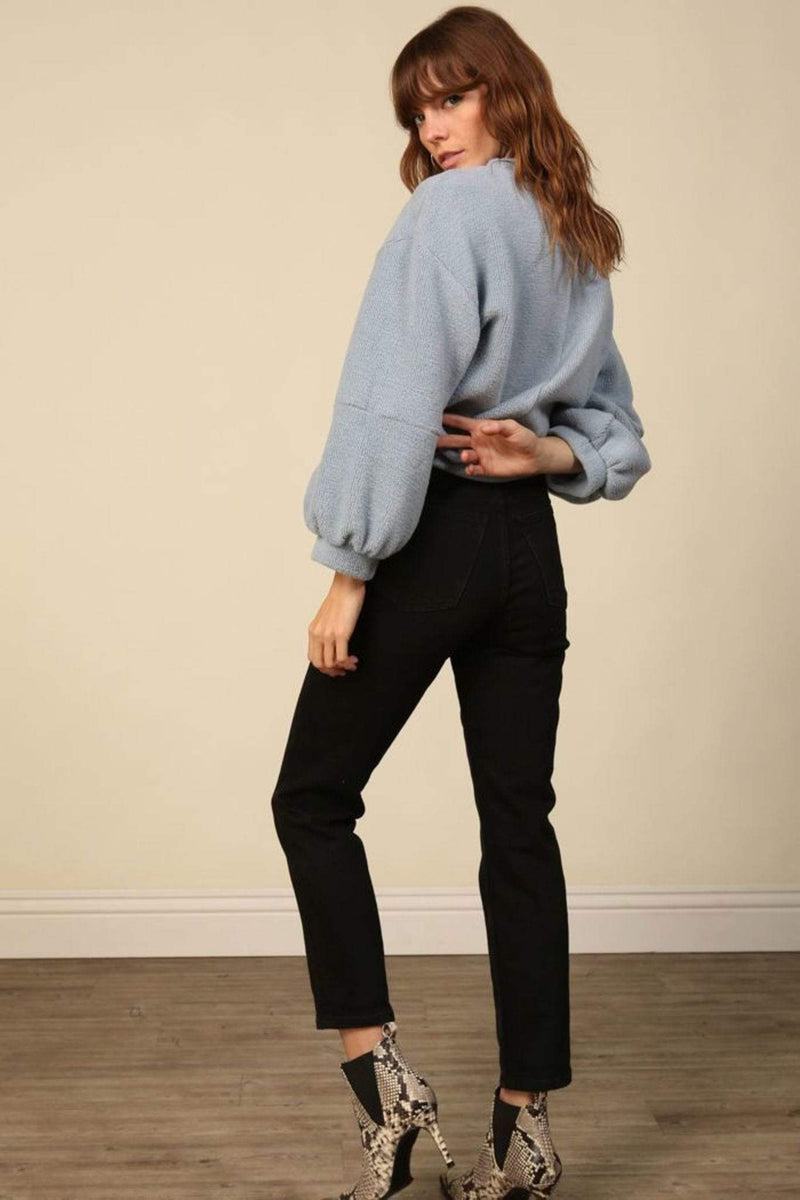Line and Dot Sweater Large / Dusty Blue / LT2659B Calli Textured Pullover Sweater Dusty Blue