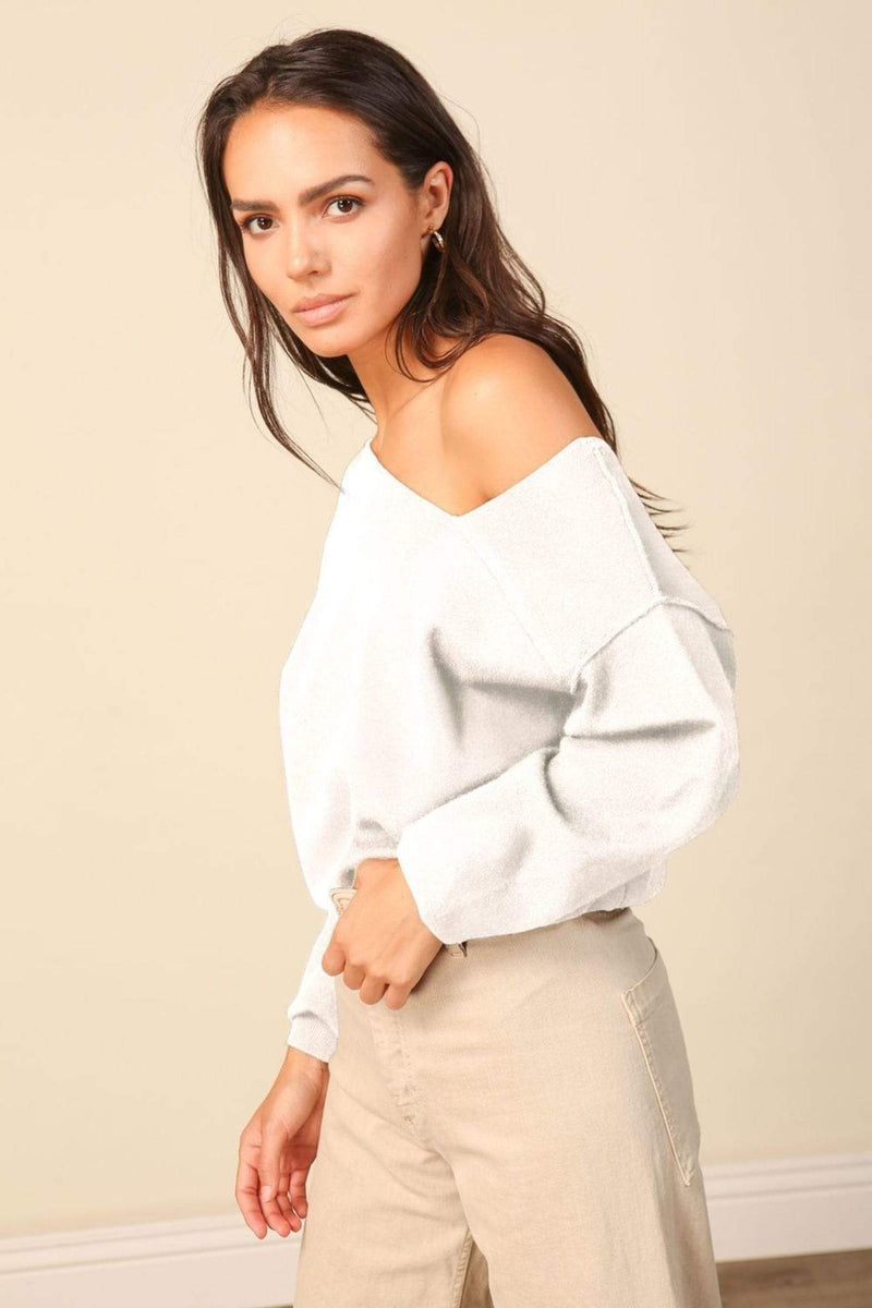 Line and Dot Sweater Medium / White / LT2744L Favorite Off the Shoulder Sweater White