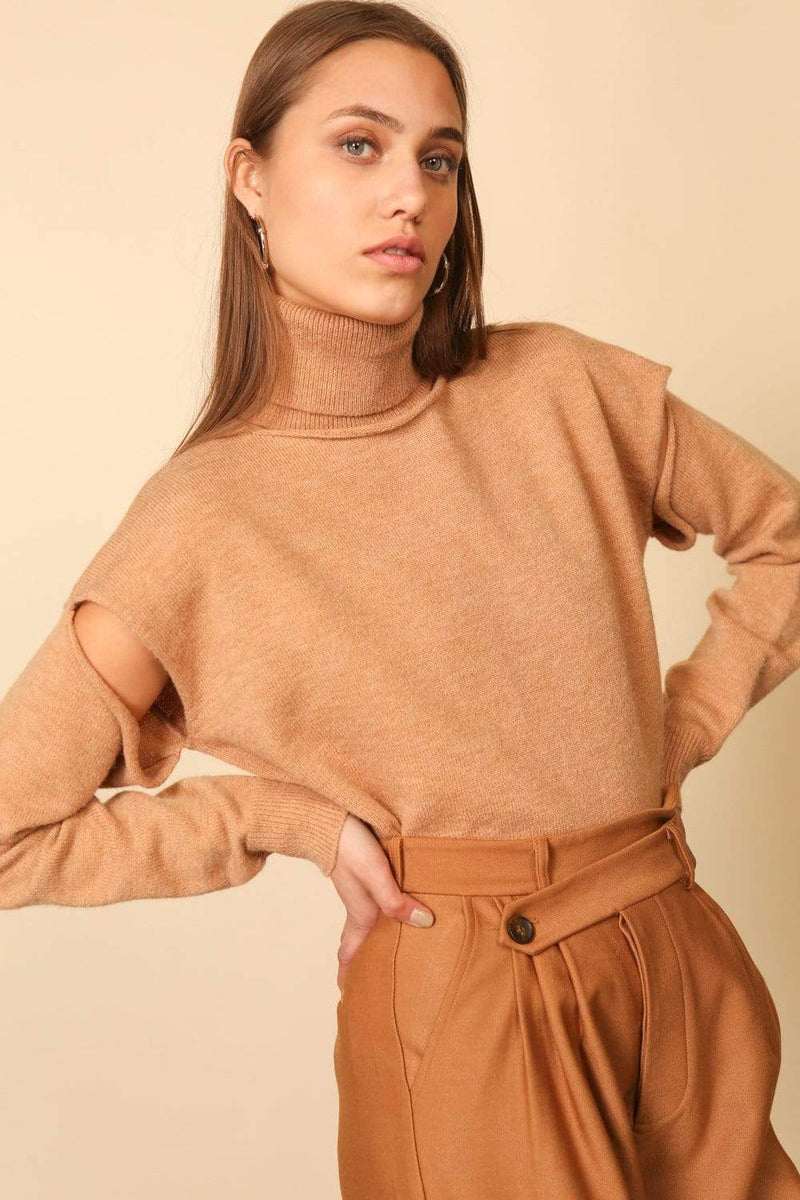 Line and Dot Sweater Palmer Cut Out Turtleneck Camel