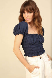 Line and Dot Tops Blouse Astrid Puff Sleeve Top Navy