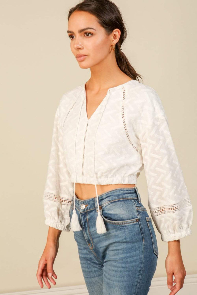 Line and Dot Tops Blouse Becky Summer Top White