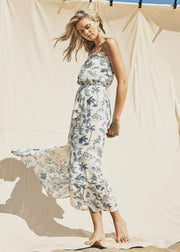 Lost + Wander Dress Blue Palm Nights Maxi Dress Ivory/Blue