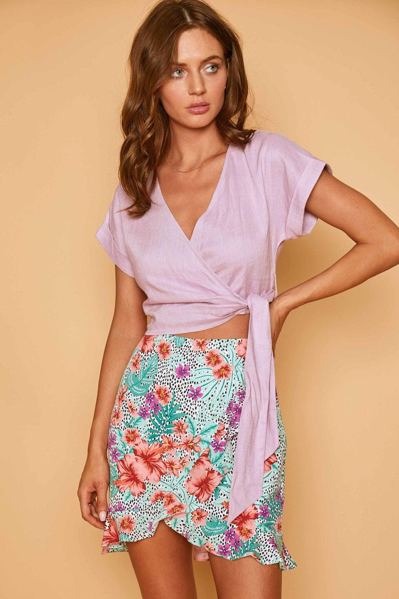 Lost + Wander Skirt Flower Power Mini Skirt Lavender Mint