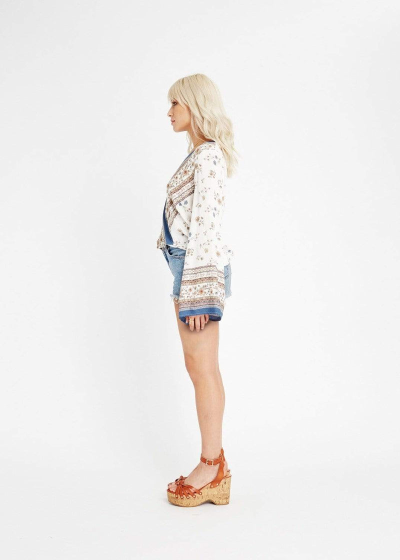 Lost + Wander Tops Blouse Tulum Wrap Top Ivory Multi